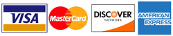 We accept Mastercard, Visa, Discover